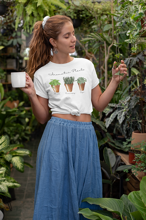 Aromatic Plants T shirt | Handmade Wild Botanical Illustration