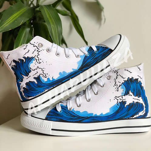 Japanese Wave Shoes / Big wave Hand Painted Shoes / Japanese Art inspired