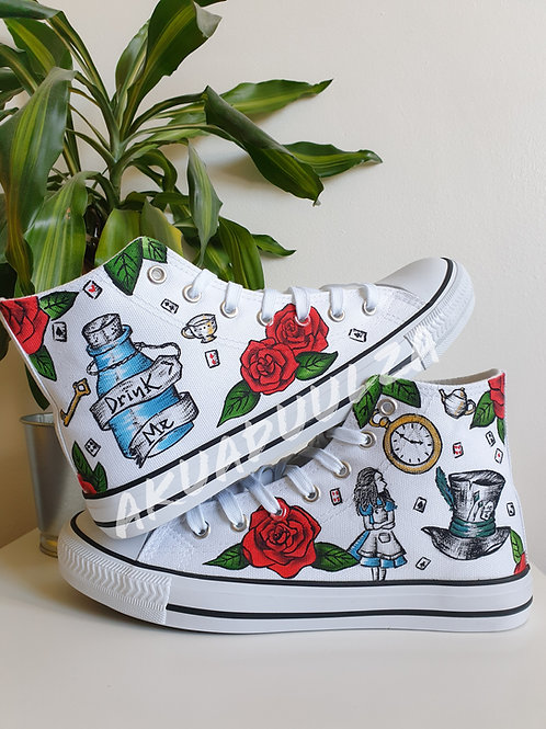 Alice in WonderlanD Hand painted shoes / Mad Hatter, Tea Party /Custom Trainers