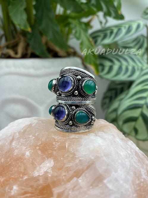 Three stone Purple Green Tibetan Ring