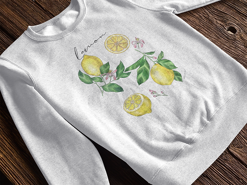 Lemon Sweatshirt | Botanical Print |Handmade Hippie Illu