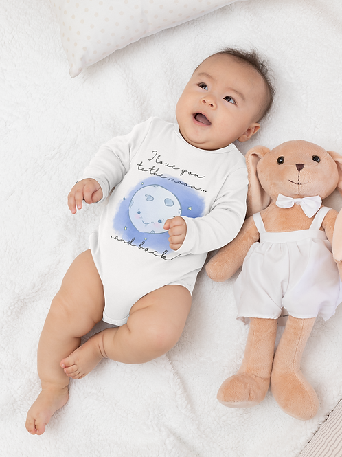 I Love You to The Moon And Back Bodysuit | Handmade Baby Bodysuit
