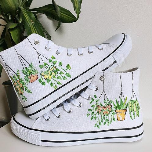 Hanging plants Hand painted shoes  / Botanical Art / Urban Jungle Custom shoes