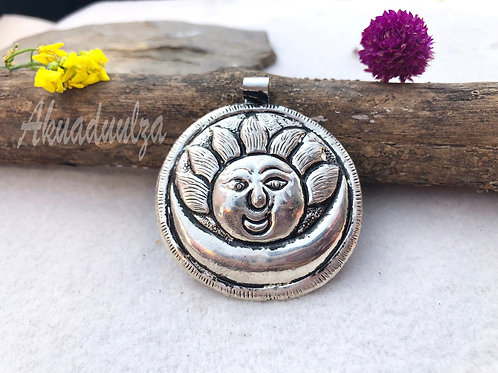 Large Sun Moon Pendant / Hippie Boho Necklace