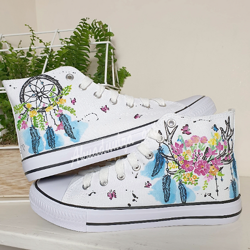 Floral Deer painted shoes / Dreamcatcher Hand Painted Shoes / Floral Hippie Art