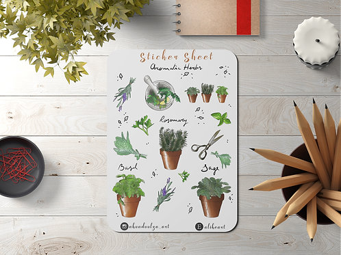 Aromatic Garden StickerSheet | Hand Made Illustration