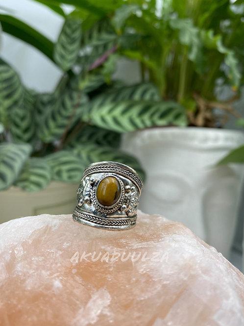 Tiger Eye Tibetan Ring / Hippie Boho Ring