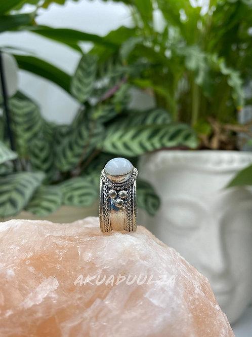 Ethnic Moonstone ring / Bohemian white stone ring