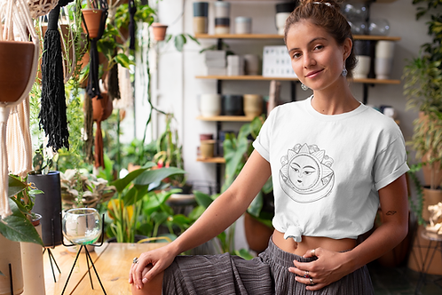 Hippie Sun and Moon T shirt | Handmade Wild Botanical Illustration