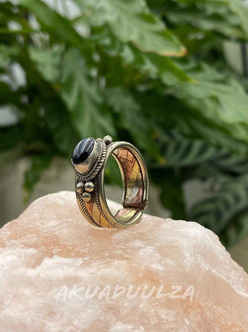 Black onyx ethnic Ring / Three metals handmade Ring