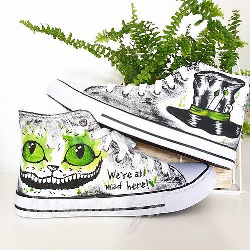 Cheshire cat hand painted shoes / Alice in Wonderland Canvas Shoes/
