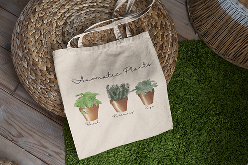 Aromatic Plant Tote Bag | Hand Made Wild Flower Illustration