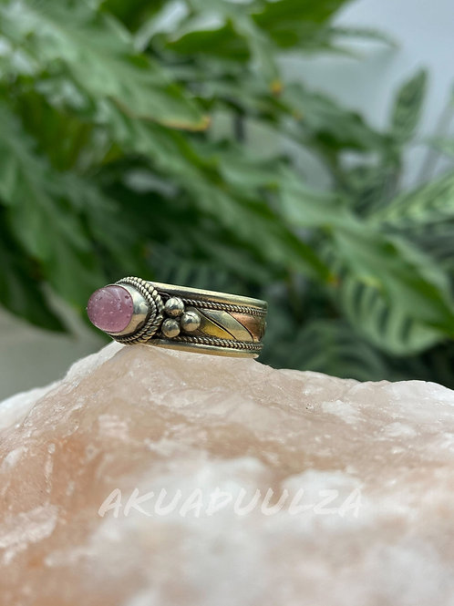 Pink ethnic Ring / Three metals handmade Ring