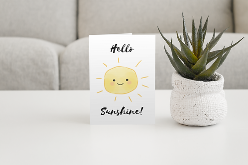 Hello Sunshine Handmade Greeting Card / A5 Card