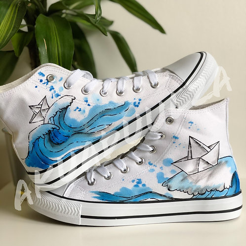 Paper boat Hand painted shoes / Ocean blue wave / Origami Arts