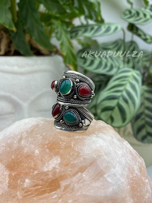 Green and red Three stone Tibetan Ring / Hippie Boho Ring