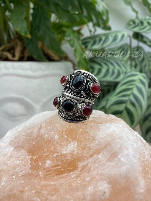 Black and red Three stone Tibetan Ring / Hippie Boho Ring