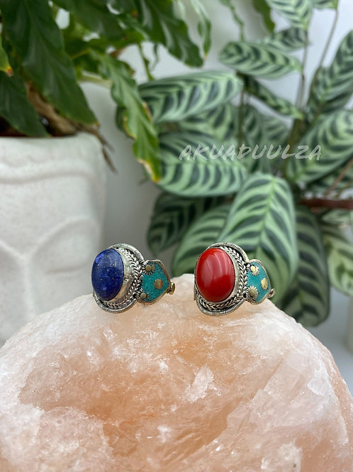 Red - Blue Stone Ring / Ethnic Ring