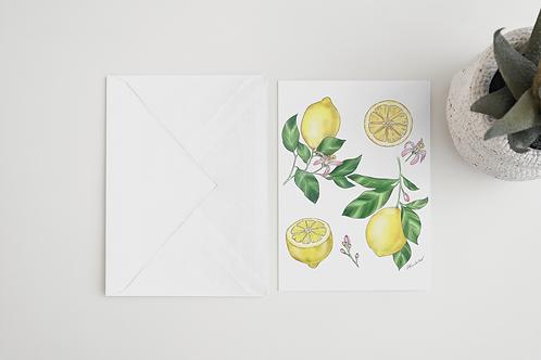 Lemon Handmade Greeting Card / A5 Card | Wild Flowers Illustration