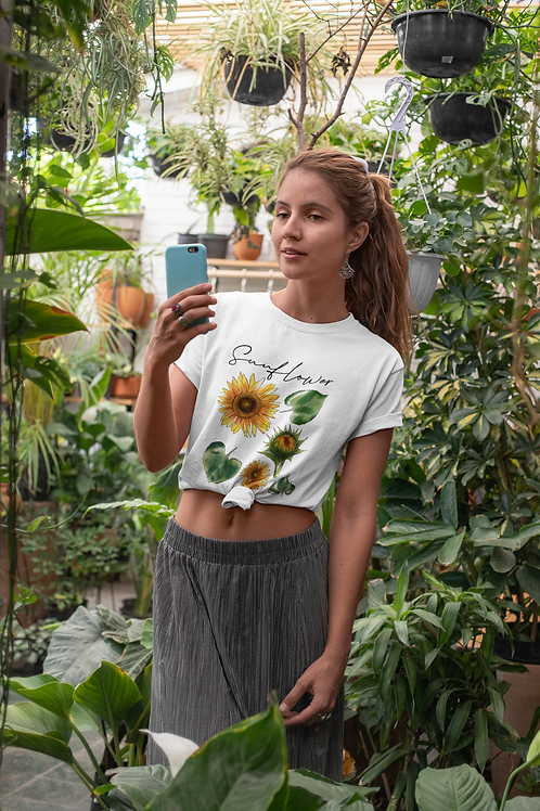 Sun Flower T shirt | Handmade Botanical Illustration