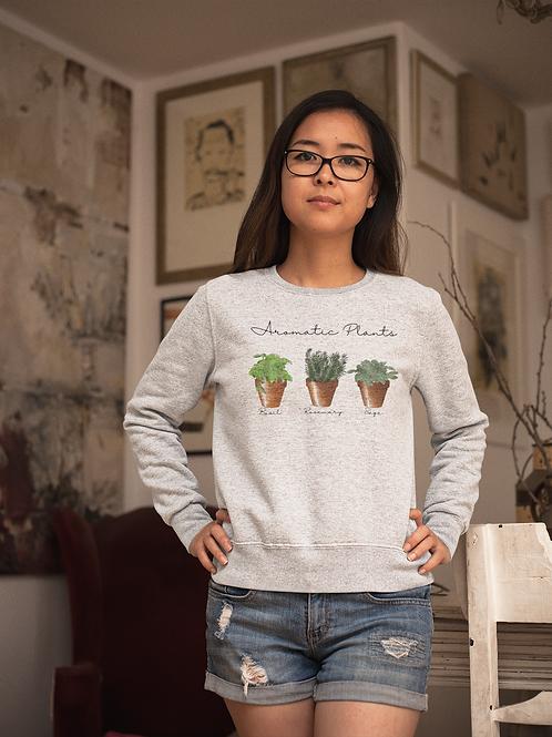 Aromatic Plants Sweatshirt   Botanical Print  Handmade Hippie Illustratio