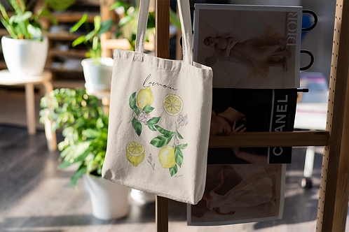 Lemon Tote Bag | Hand Made Botanical Illustration