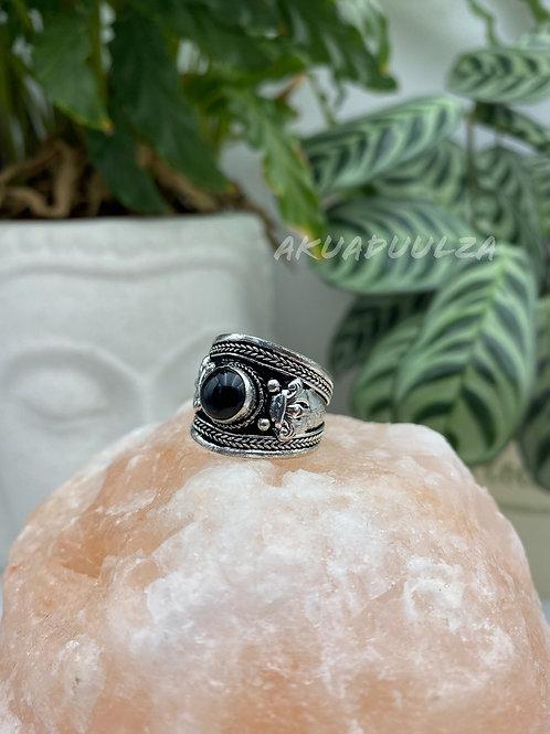 Black Stone Tibetan Ring / Hippie Boho Ring