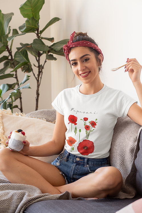 Poppy T shirt | Handmade Wild Botanical Illustration