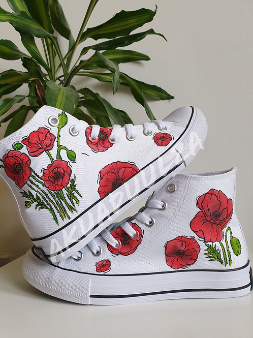 Red poppies Hand-painted shoes / Botanical Handmade Illustration