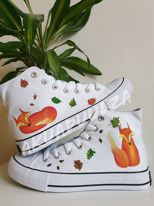 Cute Fox Hand Painted shoes / Fox Illustration / Sleeping Fox handmade trainers