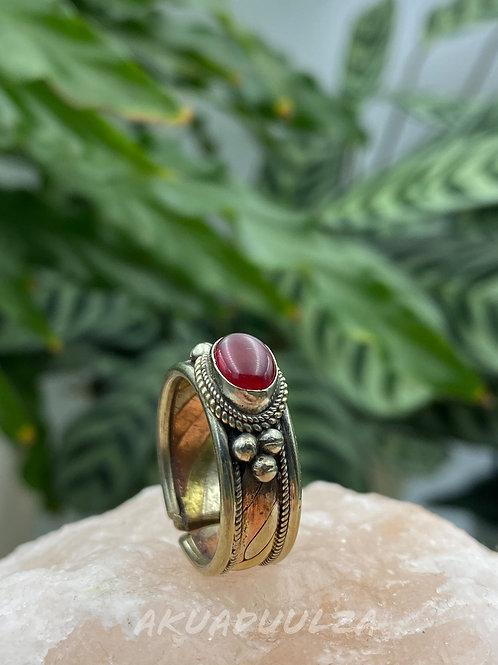 Red Onyx ethnic Ring / Three metals handmade Ring