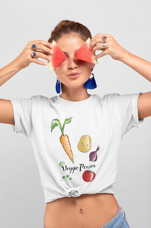 Veggie Power T shirt   Handmade Illustration