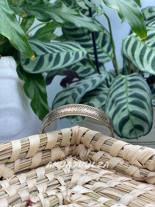 Three metals Bangle / Himalayan Tibetan Jewellery / braided pattern