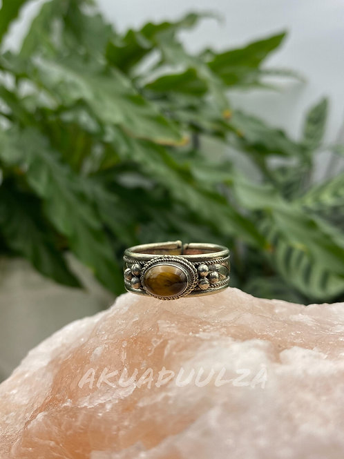 Tiger Eye ethnic Ring / Three metals handmade Ring