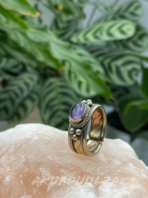 Amethyst ethnic Ring / Three metals handmade Ring