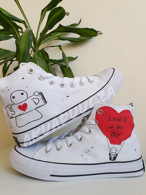 Love handpainted shoes / Love is in the air / Customised shoes / Wedding Shoes