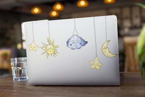 Celestial Sun and Moon Clear Sticker | Hand Made Illustration