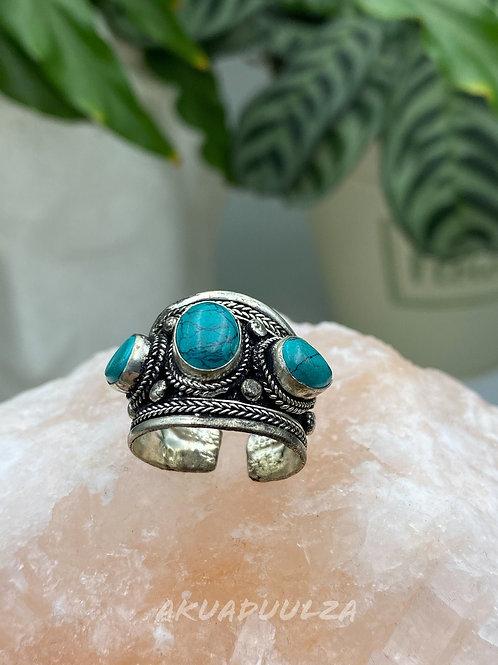 Three Stones Turquoise Tibetan Ring | Ethnic Gipsy Ring