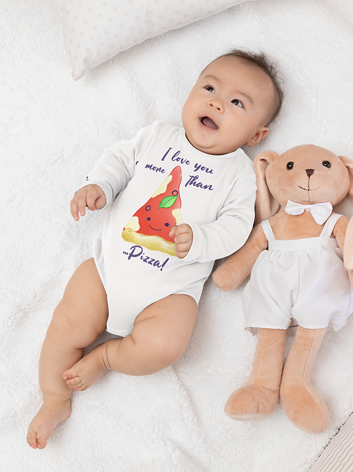 I Love You More Than Pizza Bodysuit | Handmade Baby Bodysuit