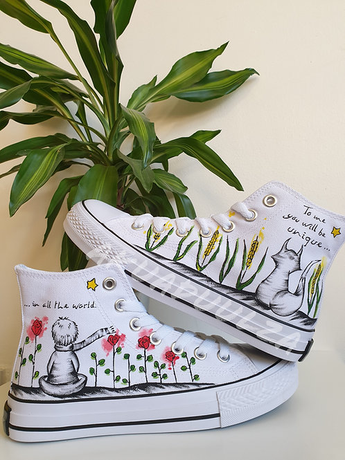 The little prince Inspired Design / Hand Painted Le Petit Prince inspired Shoes