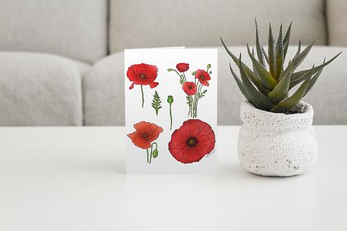Poppy Handmade Greeting Card / A5 Card | Wild Flowers Illustration