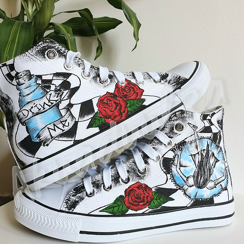 Alice in Wonderland inspired hand painted shoes / Drink Me