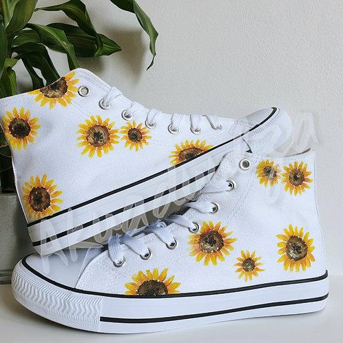 Sunflower hand-painted shoes / Wildflowers custom shoes / Botanical art