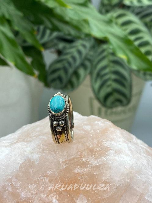 Turquoise ethnic Ring / Three metals handmade Ring