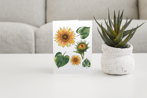 Sun Flower Handmade Greeting Card / A5 Card