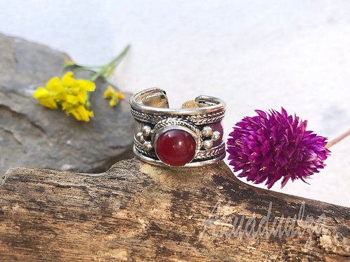 Ethnic Red Stone Ring / Tibetan Handmade Ring / Hippie Boho Ring