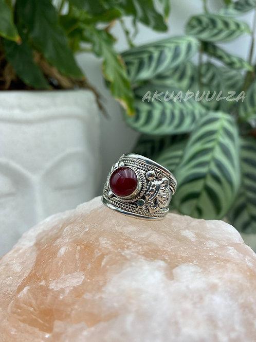 Red Stone Tibetan Ring / Hippie Boho Ring