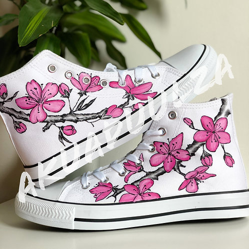 Japanese Sakura Hand Painted Shoes / Floral illustration /  Japanese art