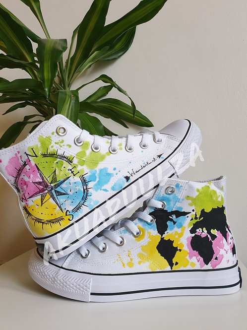 Wanderlust custom shoes / Travel Gift shoes / Hand Painted Shoes / Compass