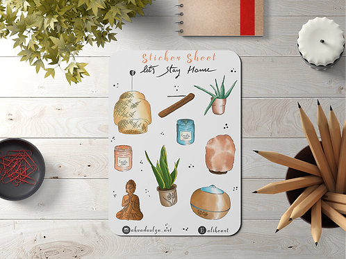 Lets Stay Home StickerSheet | Hand Made Illustration